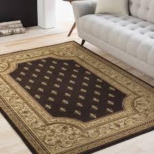 details about 8x10 7 10 x 10 3 fleur de lis traditional brown area rug