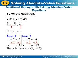 additional example 1b solving absolute value equations