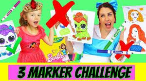 3 Marker Challenge With Barbie Lol Surprise Baby Dolls Coloring