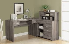 com monarch reclaimed look l shaped home office desk dark taupe kitchen dining