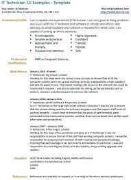 It Technician Example Examples Resume Free Samples Tech Cv