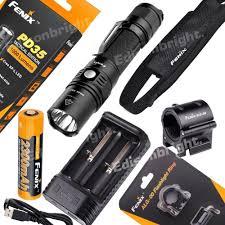Bluecolt Lighting Fenix Pd35 Tac 1000 Lumen Led Tactical Flashlight Rechargeable Kit W Mount