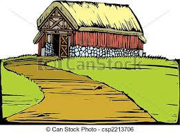 red barn doors clip art. barn on hill - scratchboard image of a red with turf. doors clip art