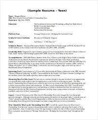 Resume For Teens Mesmerizing 60 Teenage Resume Templates PDF DOC Free Premium Templates