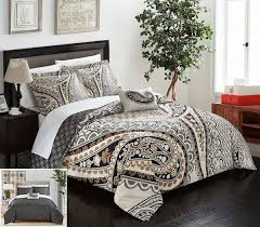 chic home 4 piece soliel large scale paisley contemporary reversible printed with embroidered details king duvet cover set beige souq uae
