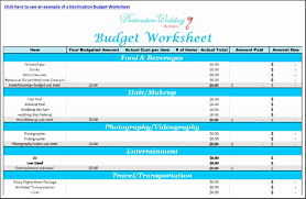 Destination Wedding Budget Worksheet Spreadsheet Business