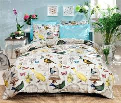 luxurious 4 pcs colorfull scenic bird print pyrenees queen sz duvet cover set asda bird double