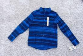 Details About 28 Boys Urban Pipeline Blue Striped Flannel Button Up Long Sleeve Shirt Sz L