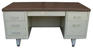 metal tank desk wood laminate work surface