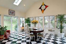 modern sunroom designs. Home Designs, Fascinating Sunroom Interior With Checkerboard Floor And White Dining Chairs Around Brown Round Modern Designs G