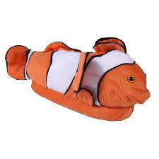 Happy Feet Slippers Size Chart Happy Feet Mens And Womens Clown Fish Animal Slippers