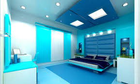 cool bedroom paint designs with lime blue color schemes and gypsum board lighting
