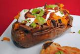 baked sweet potato with maple jalapeno sour cream