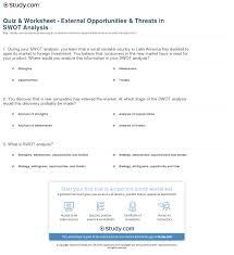 Quiz Worksheet External Opportunities Threats In Swot Analysis