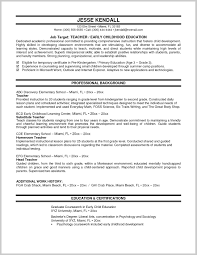Examples Of Educational Resumes Resume Example For Teacher Resume Template 18