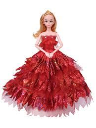 Barbie Princess Dress Design 1 Pc Pretend Toy Lace Wedding Princess Dress Dolls Toy