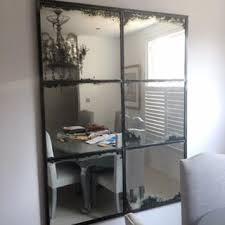 mercury glass mirror. Hand Crafted Antique Mercury Glass Mirror Set In Polished Steel Framework