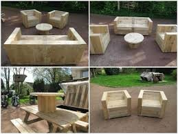 cheap homemade furniture ideas. Cheap Diy Solid Wood Outdoor Furniture Ideas With Chairs And Round Coffee Table Homemade
