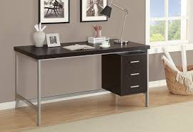 com monarch hollow core silver metal office desk 60 inch cappuccino kitchen dining