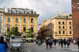 Krakow poland may 25 2017 decorative townhouses outdoors restaurants many