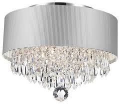 modern 3 light chrome crystal chandelier silver acrylic drum shade
