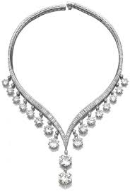 diamond necklace the v shaped collar set with baguette and tapered baguet