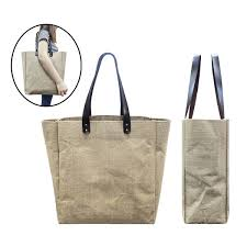 bgts082 jute tote bag with pu leather handles big