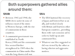 ib hota topic the cold war the cold war who s to blame both superpowers gathered allies around them ussr between 1945 and 1948 the ussr drew