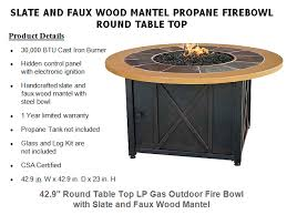 42 9 round lp gas outdoor firebowl with slate and faux wood mantel