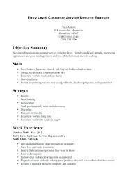 Sample Resume Objective Statements For Customer Service Entry Level Customer Service Resume Ethanhome Co