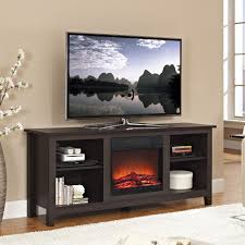 decoration furniture brown espresso wooden tv stand with long electric fireplace in small spaces for