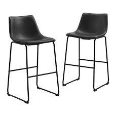black faux leather bar stools set of 2