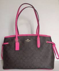 Coach F23855 Drawstring Carryall in Signature Brown Bright Fuchsia   eBay