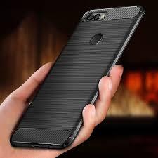 For Huawei Y9 2018 Case <b>Shockproof Carbon Fiber</b> Bumper Y 9 ...