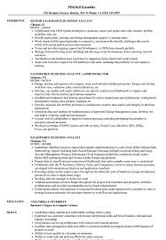 Salesforce Experienced Resumes Salesforce Business Analyst Resume Samples Velvet Jobs
