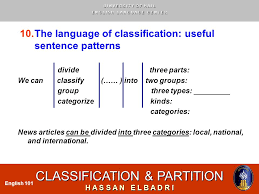 english ppt video online  the language of classification useful sentence patterns