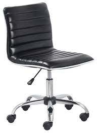 office leather chair. Mid Back Armless Ribbed Task Leather Chair Black Upholstery And Chrome Contemporaryoffice Office