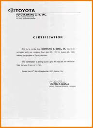 Example Certificate Employment Certificate Sample For Housemaid New