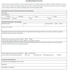 Injury Report Form Template Construction Incident Info