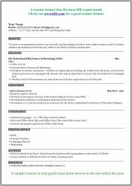 New Resume Format For Mca Freshers Resume Resume Examples