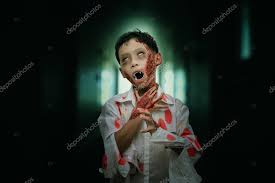 boy in zombie make up for stock photo