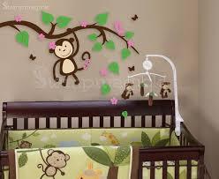 description girl monkey on branch wall decal