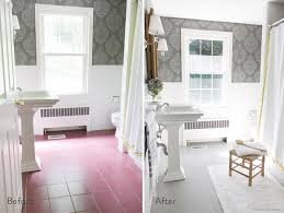before and after of painted floor tiles