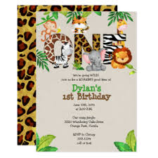 Jungle Theme Birthday Invitations Jungle 1st Birthday Party Invitations