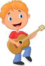 playing cartoon vector illustration of little boy cartoon playing guitar stock