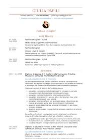 Fashion Designer Stylist Resume samples