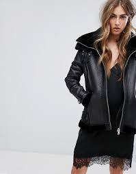 women river island faux shearling aviator jacket zip fastening black