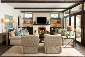 the fireplace and television in this room are placed perfectly in the living area the