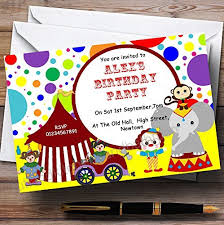 Personalised Birthday Invitations For Kids Childrenss Kids Party Invites Colourful Circus Theme Personalised