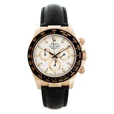 rolex daytona 116515 rose gold ivory dial leather strap mens watch rolex daytona watch